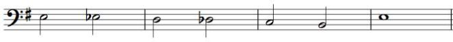 chromatic descending bass line, notated