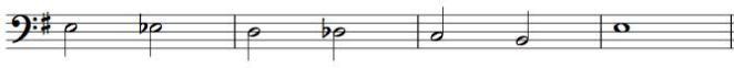 chromatic descending bass line, notated